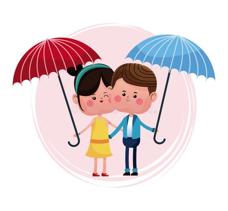 Par som älskar med det blåa och röda paraplyet stock illustrationer