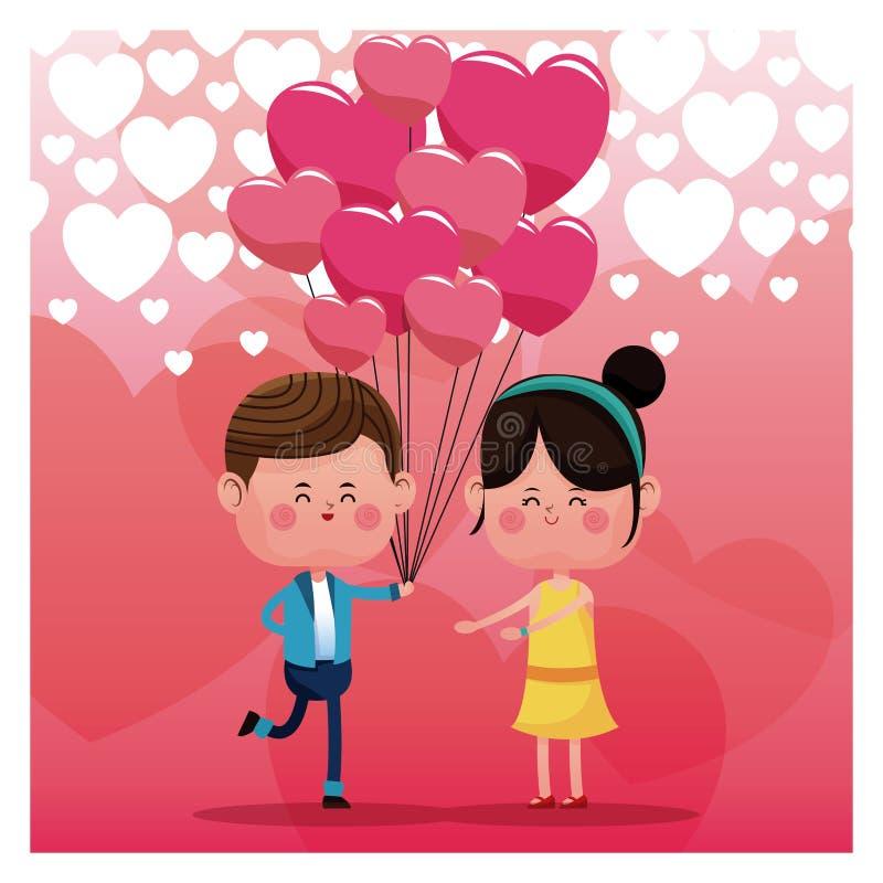 Par som älskar rosa bakgrund för ballongregnhjärta vektor illustrationer