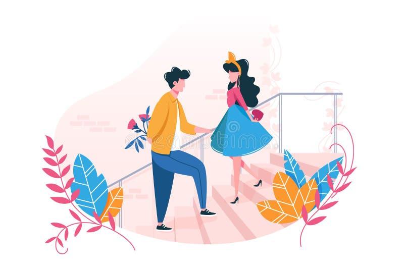 Par som är förälskade på datum royaltyfri illustrationer