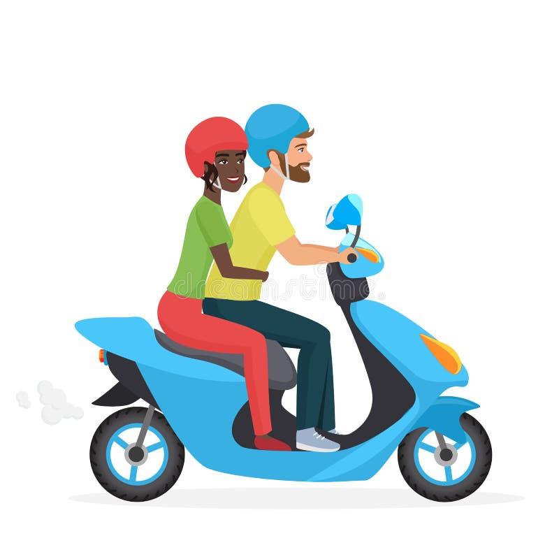 Par som är förälskade tillsammans på sparkcykeln Ung lycklig par-, vit man- och afrikansk amerikankvinna som rider en moped moder stock illustrationer