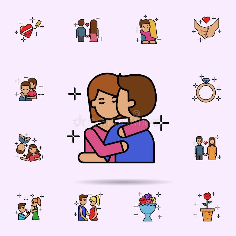par som ?r lyckliga, kram, f?r?lskelsesymbol r vektor illustrationer