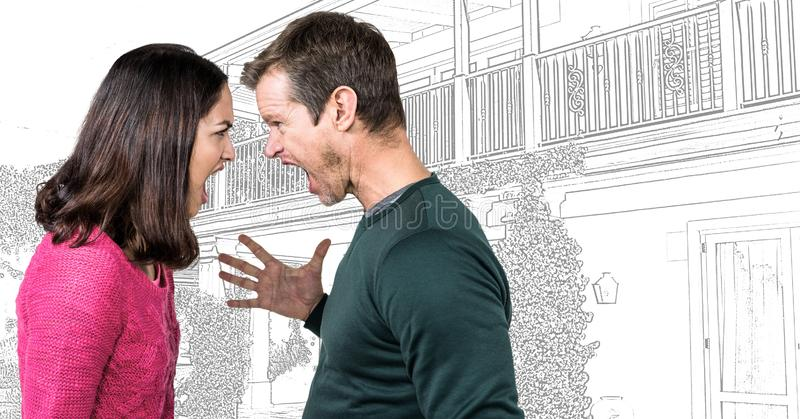 Par som argueing av husteckning, skissar framme arkivbilder