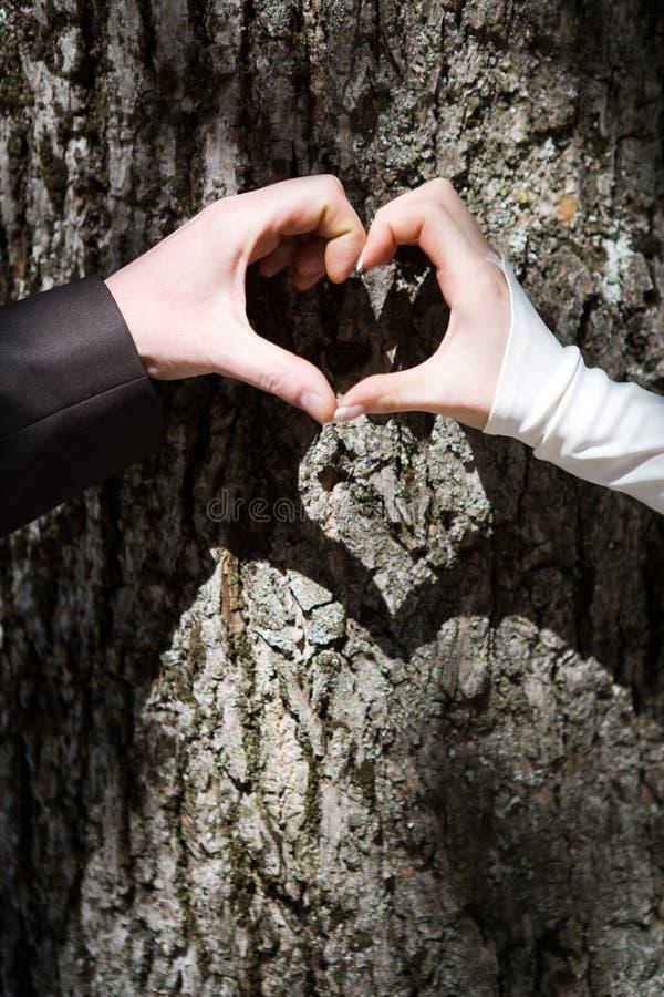 par som bildar handhjärta royaltyfri bild