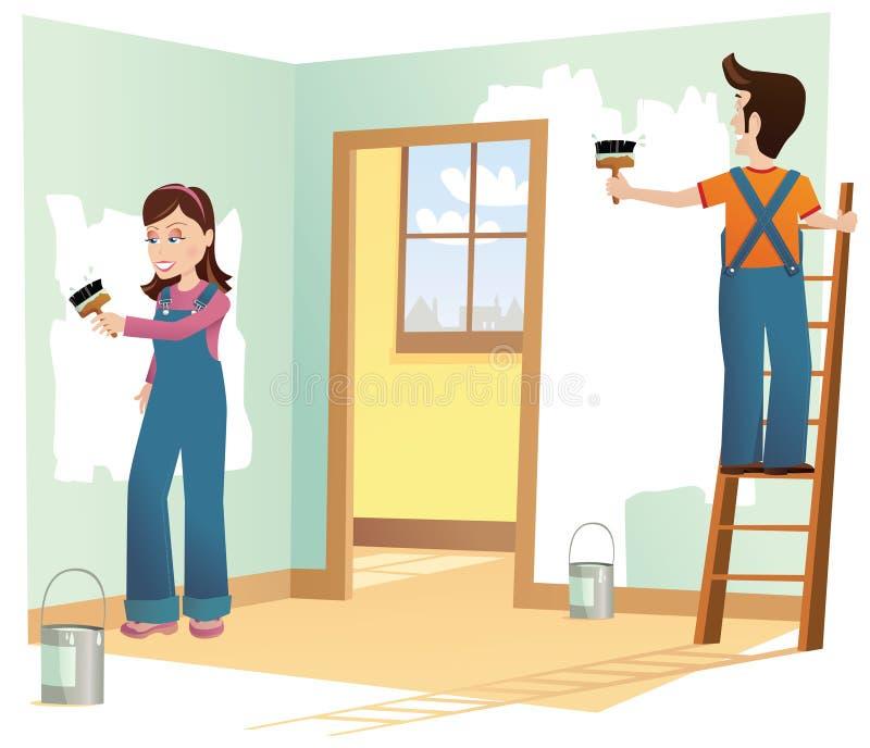 Par som dekorerar huset stock illustrationer