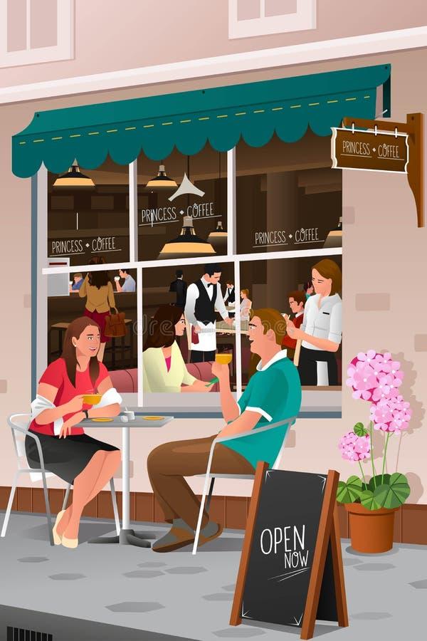 Par som dricker kaffe på ett utomhus- kafé stock illustrationer