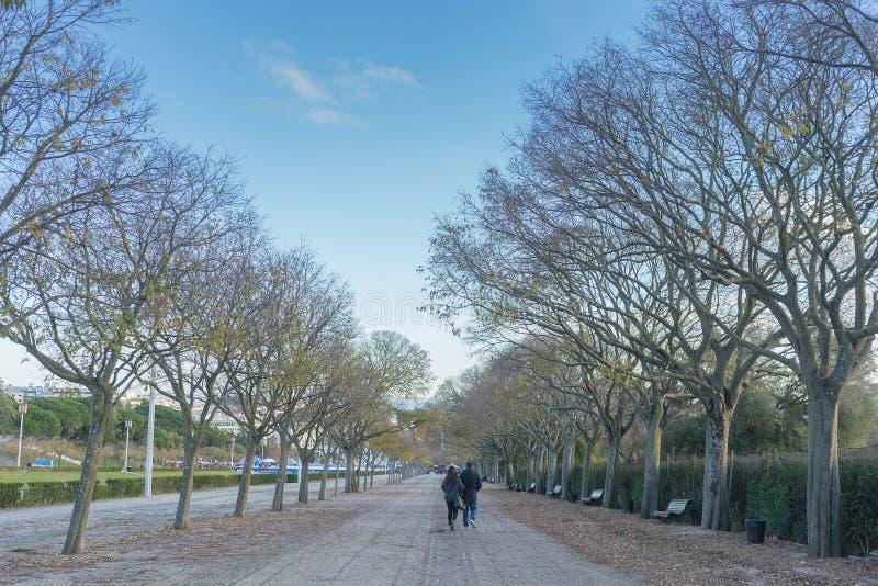 Par som går i eduardoen sjunde, parkerar i Lissabon portugal fotografering för bildbyråer