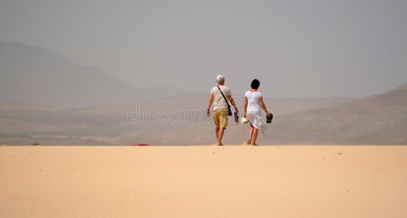 Par som går på dyn royaltyfri foto