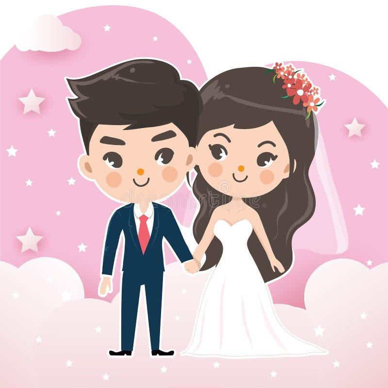 Par som gifta sig på, knackar himmelmolnet vektor illustrationer