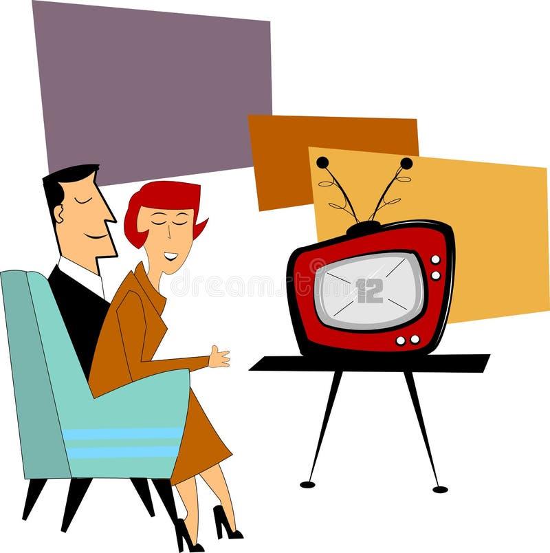 Par som håller ögonen på den nya tv:n stock illustrationer