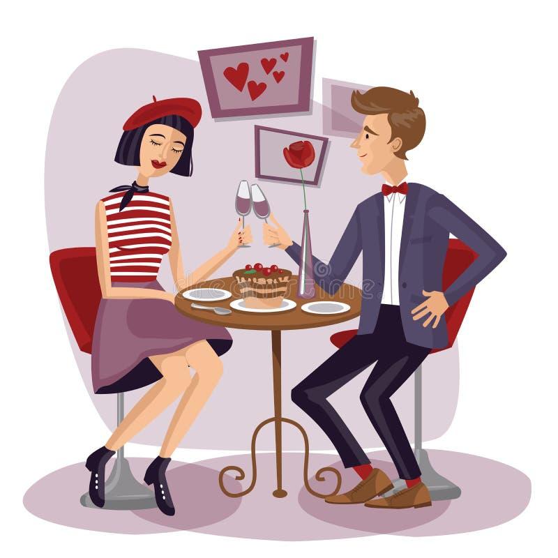 Par som har matställen med vinglas Vänner, mannen och kvinnan sitter vektor illustrationer