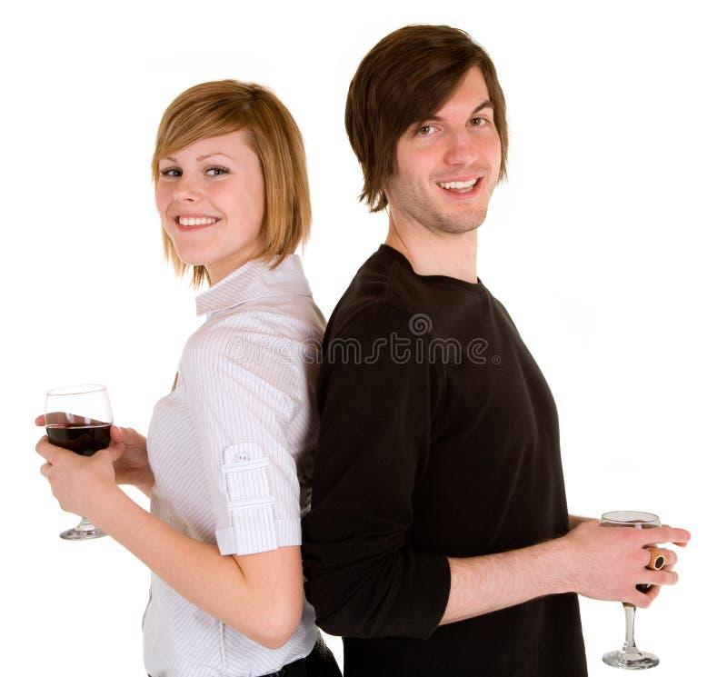 par som har rött vinbarn royaltyfri bild
