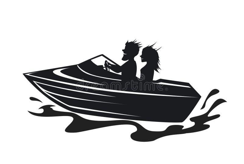 Par som kör hastighetsfartygkonturn vektor illustrationer