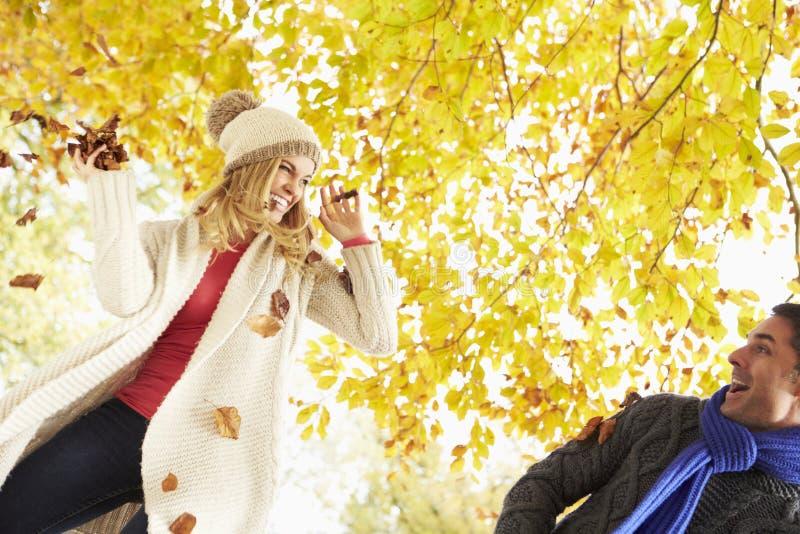 Par som kastar sidor i Autumn Garden royaltyfri foto