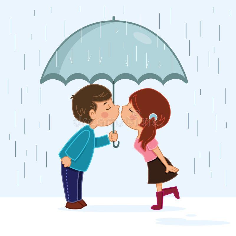Par som kysser i regnet royaltyfri illustrationer