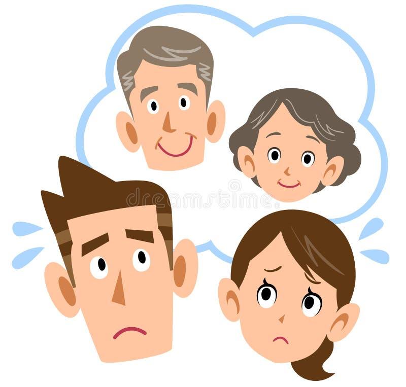 Par som oroar om föräldrar stock illustrationer