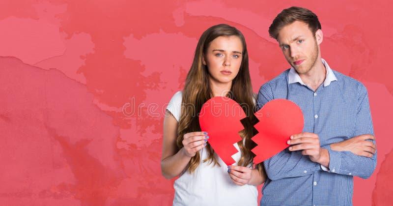 Par som rymmer bruten hjärta royaltyfria foton