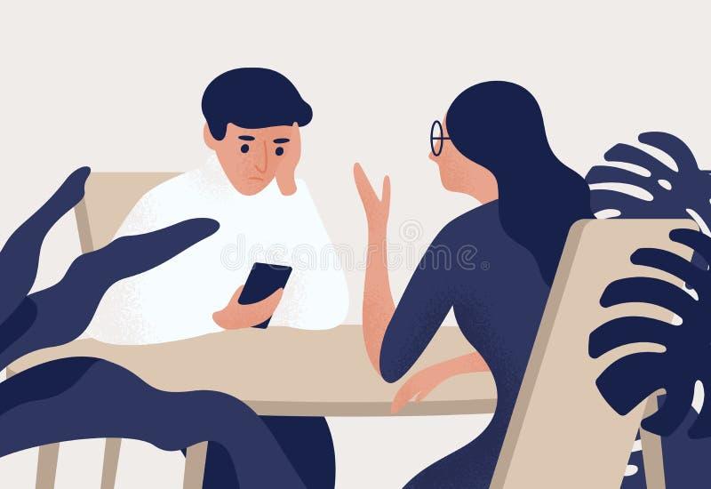 Par som sitter på tabellen, kvinna som talar till hennes partner, man som ser hans smartphone Avlägsnande i romantiker vektor illustrationer