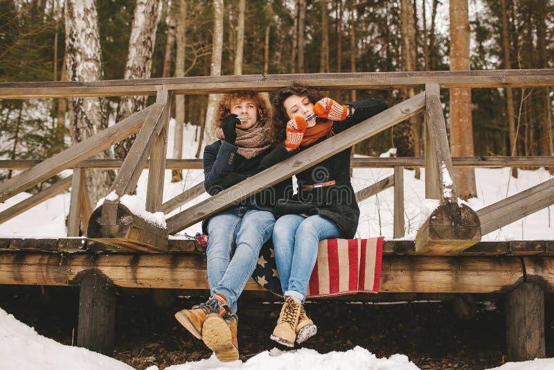 Par som spelar munspelet i vinter, parkerar tillsammans sammanträde på floo royaltyfria foton
