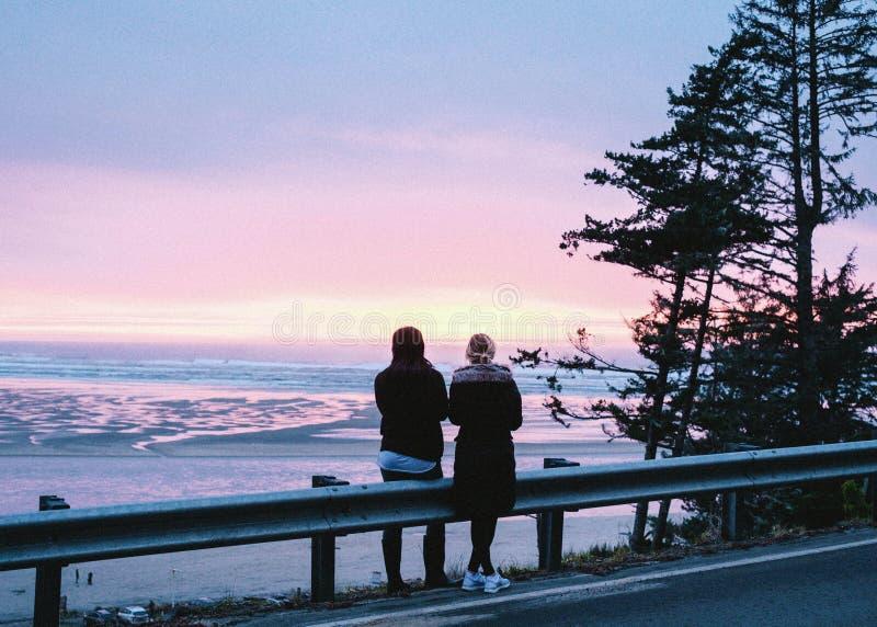 Par som står på sidan av vägen och tycker om den härliga naturliga utsikten i bakgrunden arkivfoton