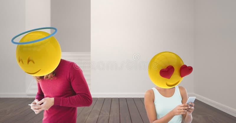 par som talar på WhatsApp Förälskelse Emoji huvud vektor illustrationer