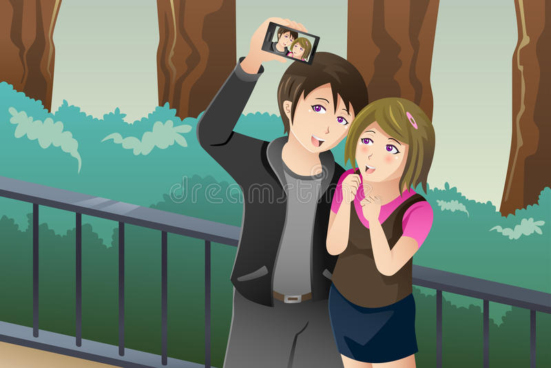 Par som tar en selfiebild av dem stock illustrationer