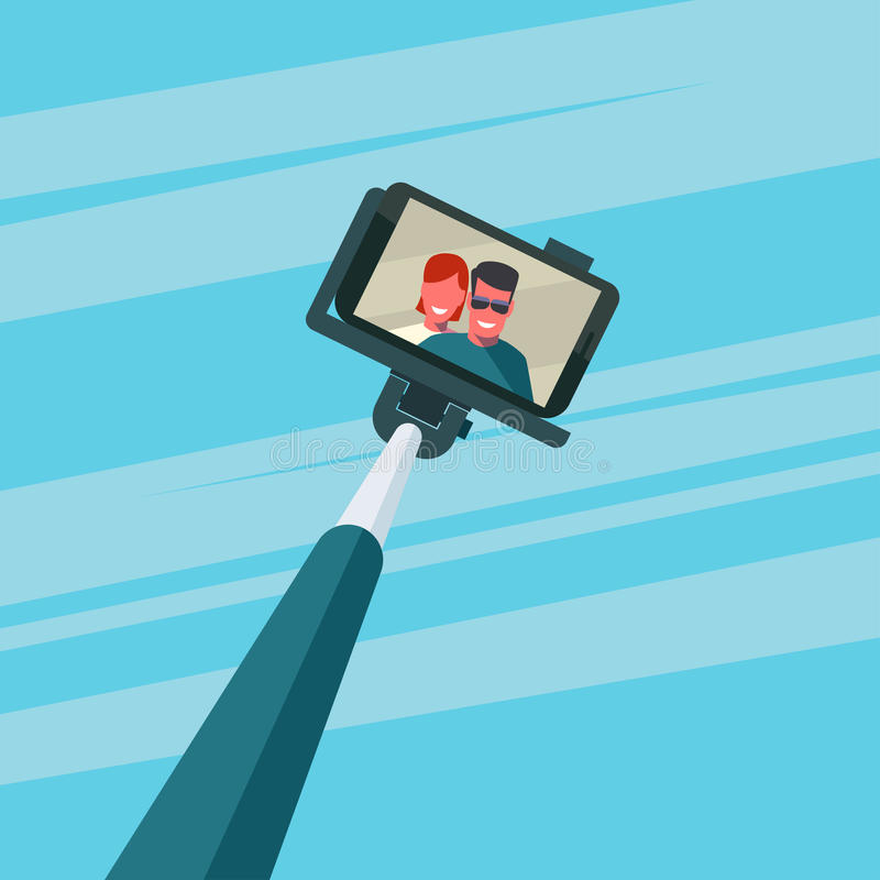 Par som tar selfie vektor illustrationer