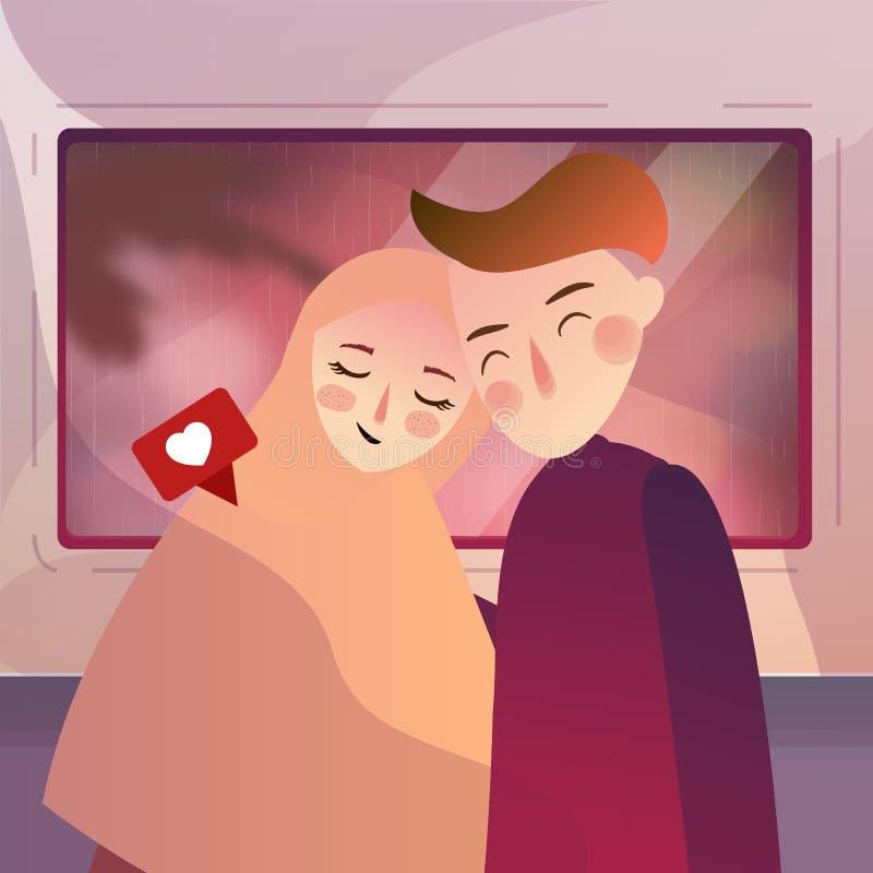 Par som tillsammans reser med drevet Kvinnan för förälskelseresamannen i en tur kopplar av vilar royaltyfri illustrationer
