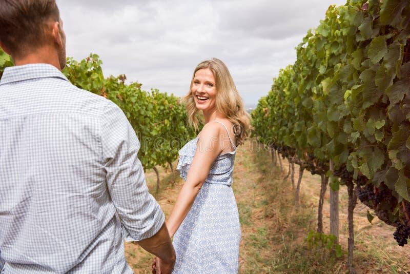 Par som tycker om i vingård arkivfoto
