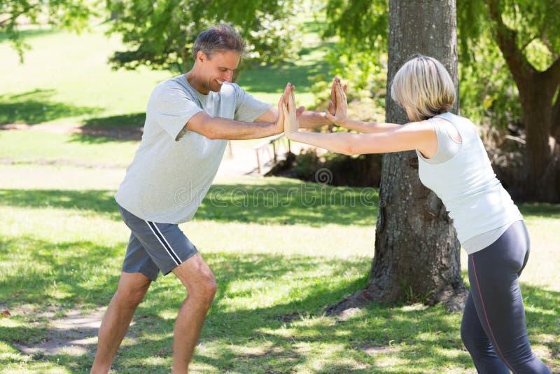 Par som utarbetar i parkera royaltyfri fotografi