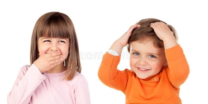 Par sorprendido de niños fotos de archivo
