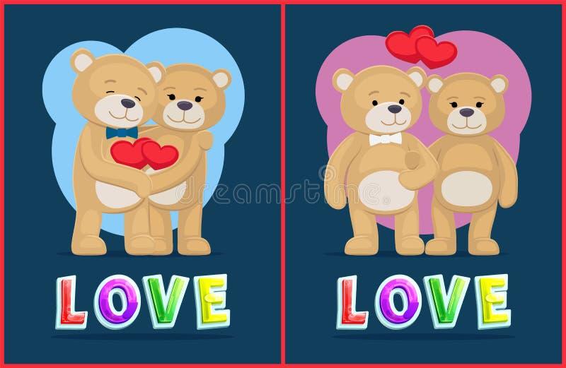 Par Teddy Bears, förälskelsetema, vektorplakat royaltyfri illustrationer