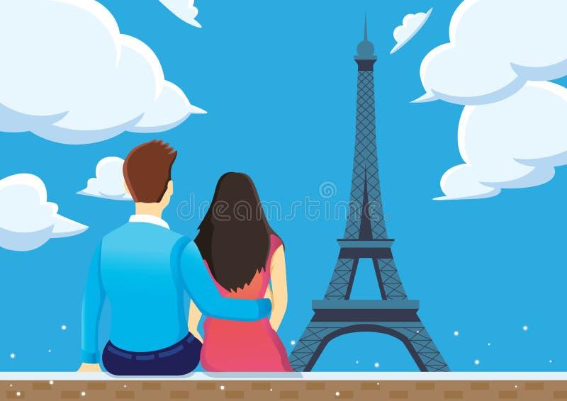 Par tycker om atmosfären av Eiffeltorn med blå himmel royaltyfri illustrationer