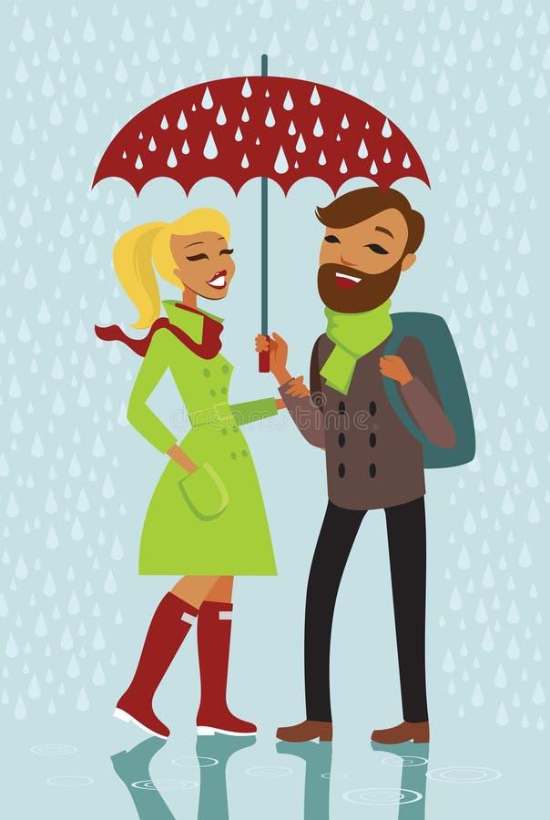 Par under regnet royaltyfri illustrationer