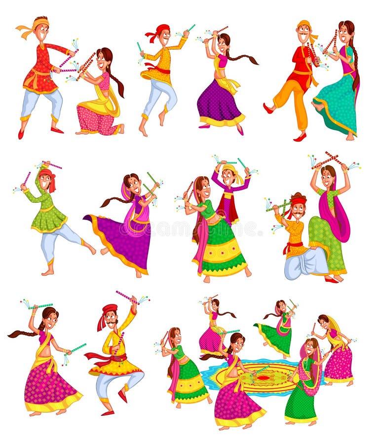 Par utförande Dandiya stock illustrationer