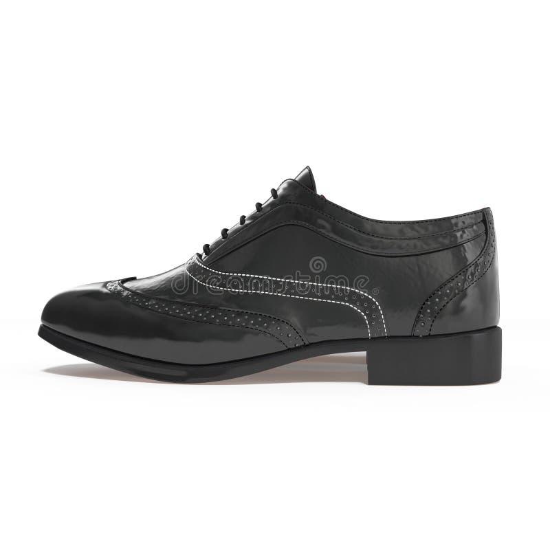 Par vintage hermoso de zapatos de cuero del negro de la moda con perfil de la vista lateral, aislado en blanco ilustración 3D ilustración del vector