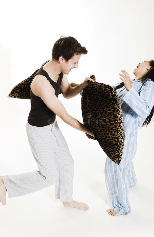 par walczące poduszki zdjęcia royalty free