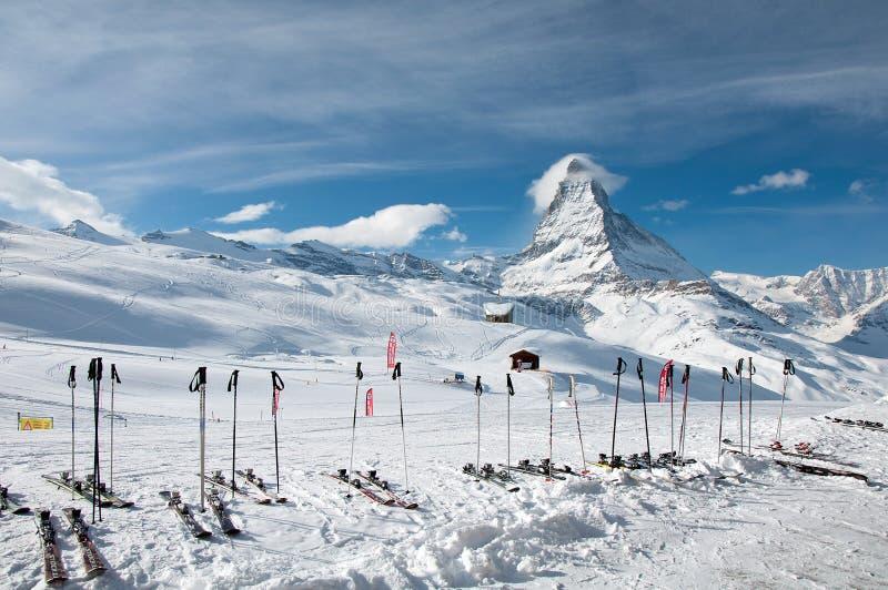 Paraíso del esquí de Cervino fotografía de archivo libre de regalías