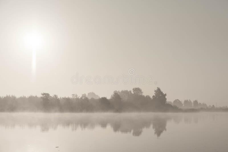 Paraíso del pescador Niebla de la mañana imagenes de archivo