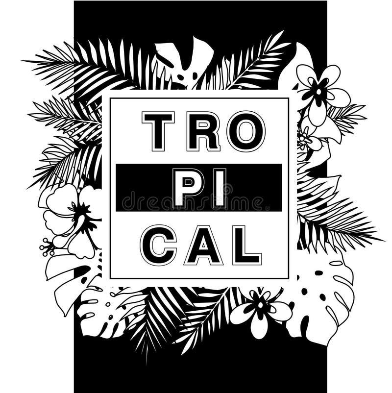 Paraíso tropical Impresión del diseño de la camiseta o del cartel con el leav de la palma libre illustration