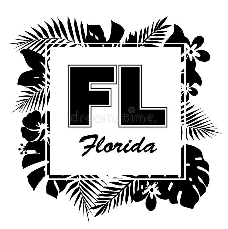 Paraíso tropical Impresión del diseño de la camiseta o del cartel con el leav de la palma ilustración del vector