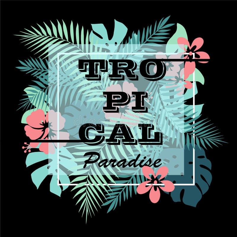 Paraíso tropical Impresión del diseño de la camiseta o del cartel con las hojas de palma y las flores stock de ilustración