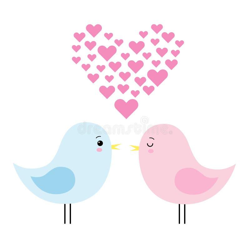 Para śliczni ptaki w miłości wektorowym ilustracyjnym kawaii royalty ilustracja