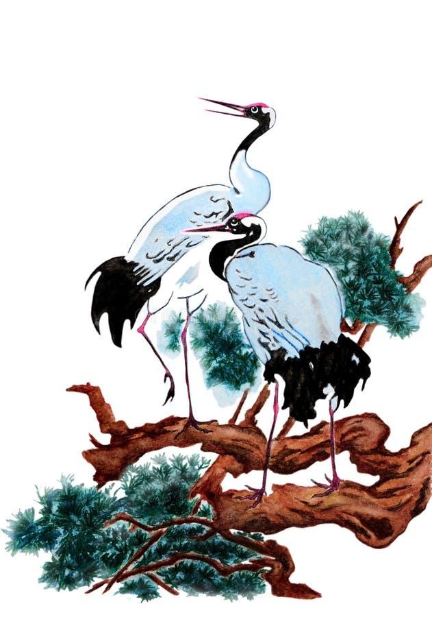 Para żurawie na drzewie ilustracji