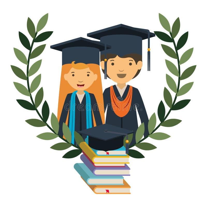 Para absolwenci z książki avatar charakterem ilustracja wektor