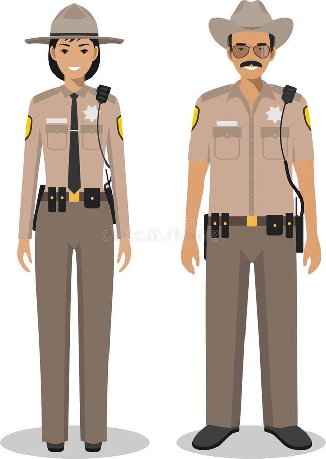 Para amerykański policjant i policjantka stoi wpólnie na białym tle royalty ilustracja