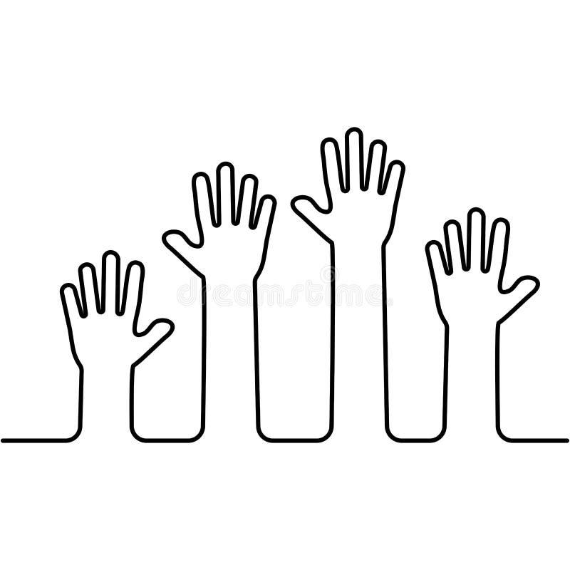 Para arriba aumentadas manos Concepto del asunto volunteering Ilustraci?n del vector libre illustration