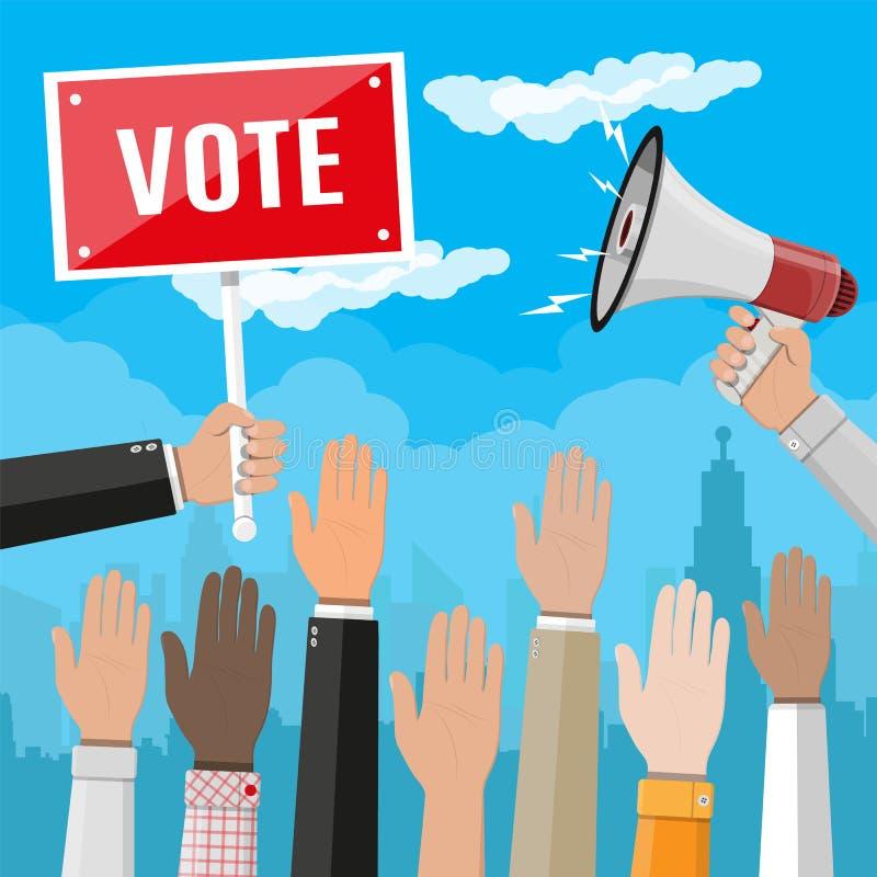 Para arriba aumentadas manos Manos del voto de la gente ilustración del vector