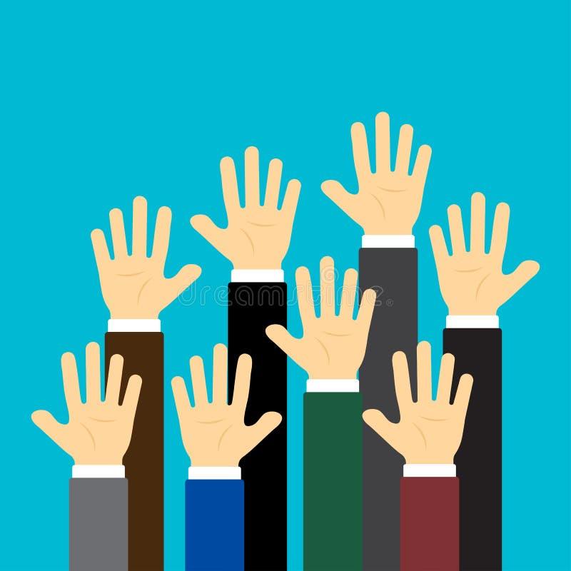Para arriba aumentadas manos en fondo azul Ilustraci?n del vector stock de ilustración