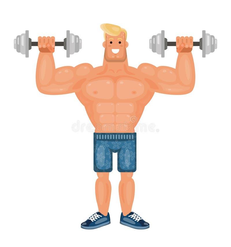 Para arriba bombeado hombre hermoso del culturista que hace ejercicios con pesas de gimnasia y que sonríe, vector plano stock de ilustración