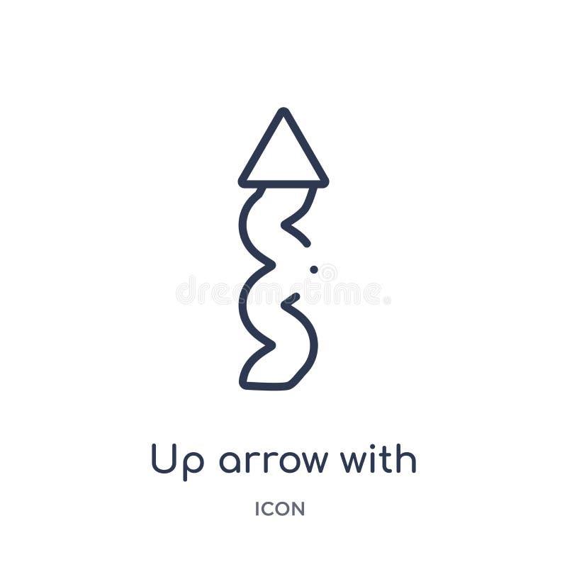 para arriba flecha con el icono del garabato de la colección del esquema de la interfaz de usuario Flecha fina de la formación co ilustración del vector